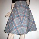 Vintage 80s Plaid Skirt Classic Flared A-Line Career Girl - M Medium