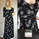 Vintage 70s Black Florals Minimalist Long Jersey Dress -Medium