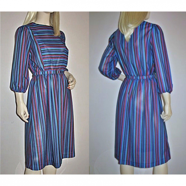 70s Secretary Dress, Sheer Multi Stripe Size XS/S