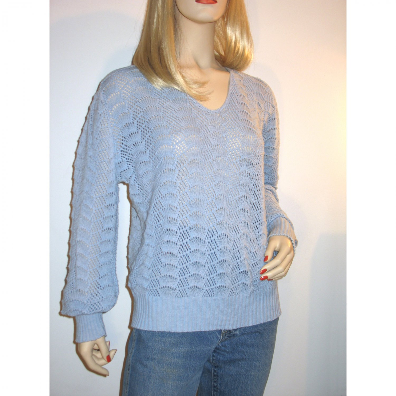 Vintage 70s Cuddle Knit Pointelle Sweater Open Weave Knit Preppy Pullover Baby Blue - Size M/L