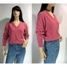 70s Preppy Pullover V-neck Pink Sweater by Christian Dior Monsieur Label Paris New York - Size XS-S