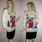 Warm & Comfy Vintage Christmas Sweater with Grumpy Teddy Bear in Stocking & Christmas Tree