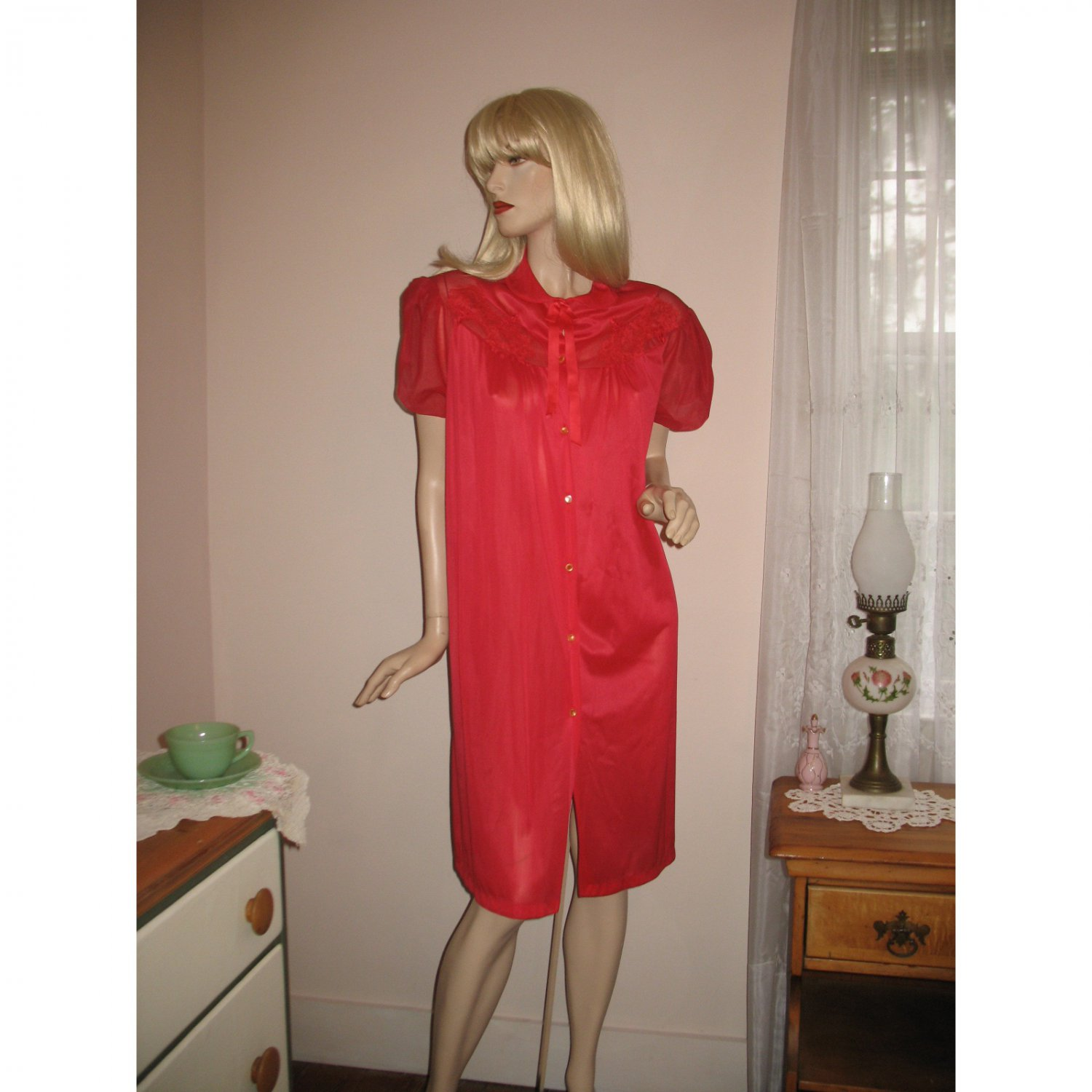 Vintage Red Peignor Robe by Gaymode 60s Nightgown Double Chiffon Puffed Sleeves-M/L
