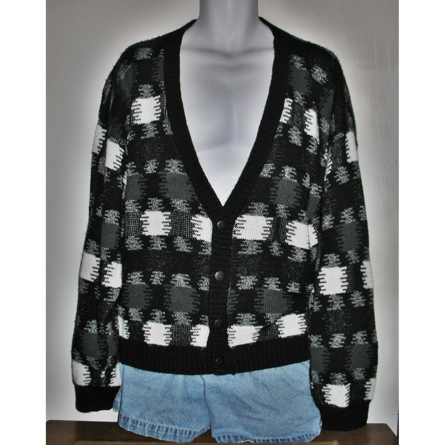 Vintage 70s/80s Cardigan Unisex Black and White Geometric Pattern Size Large