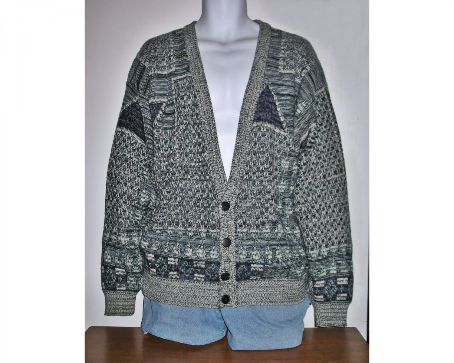 Vintage 70s Cardigan with Abstract Artsy Design in Aqua/Grey /Purple/Black Unisex - Size Large
