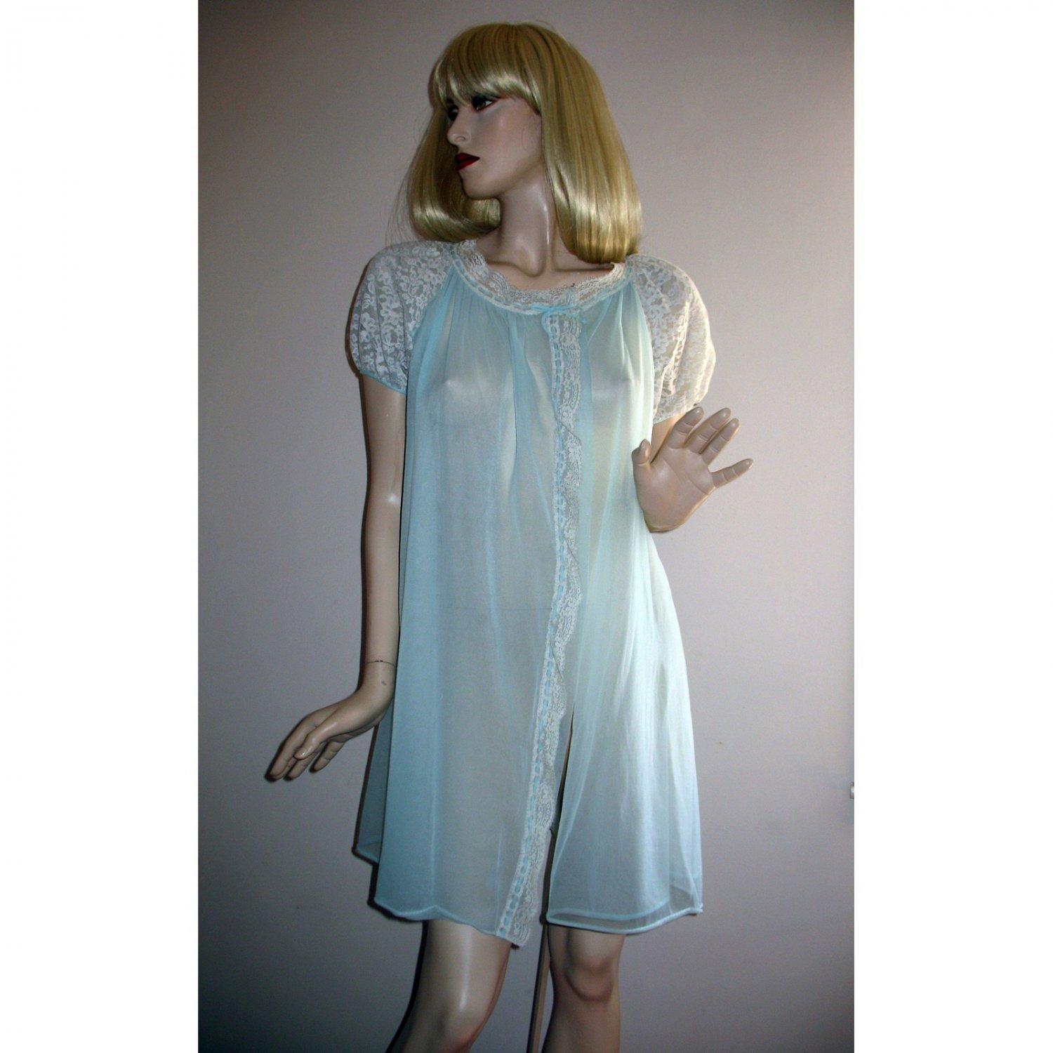 Vintage SHEER Aqua Chiffon NYLON Lace Puff Sleeve Peignoir Robe by Radcliffe Lingerie M L