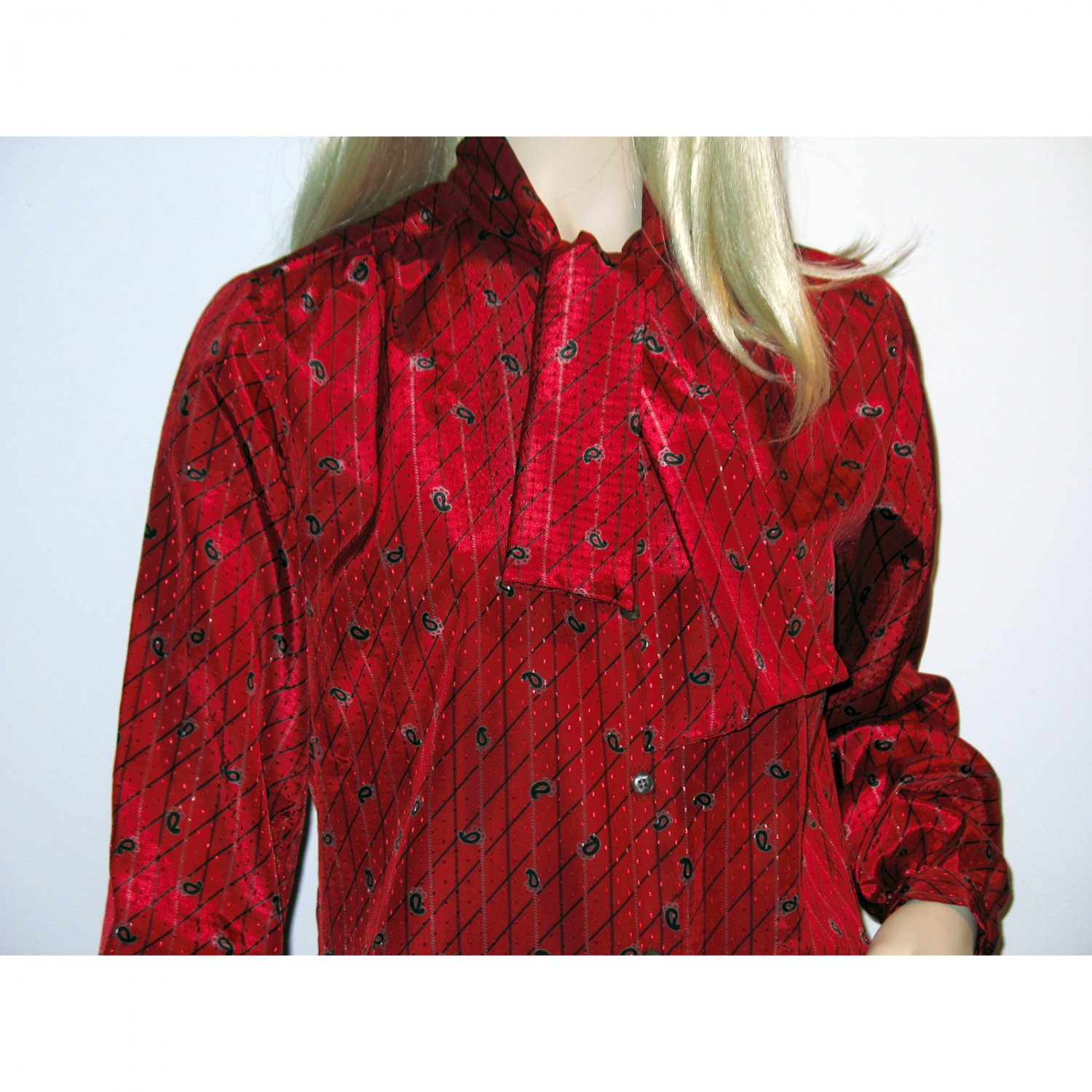 Vintage Secretary Blouse 1960s Gordon of Philadelphia Paisley Shirt Blouse Ascot Tie S M