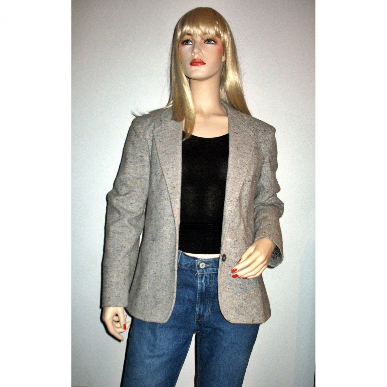 Vintage 80s Gray Tweed Blazer Jacket by Designer Oscar de la Renta Size M