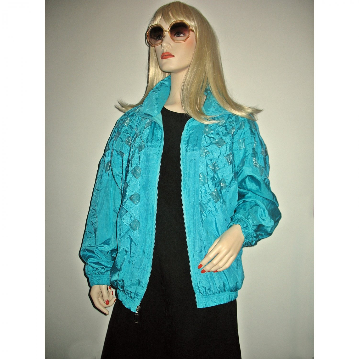 Vintage 80's Windbreaker Shimmer Raincoat Bomber Jacket-One Size