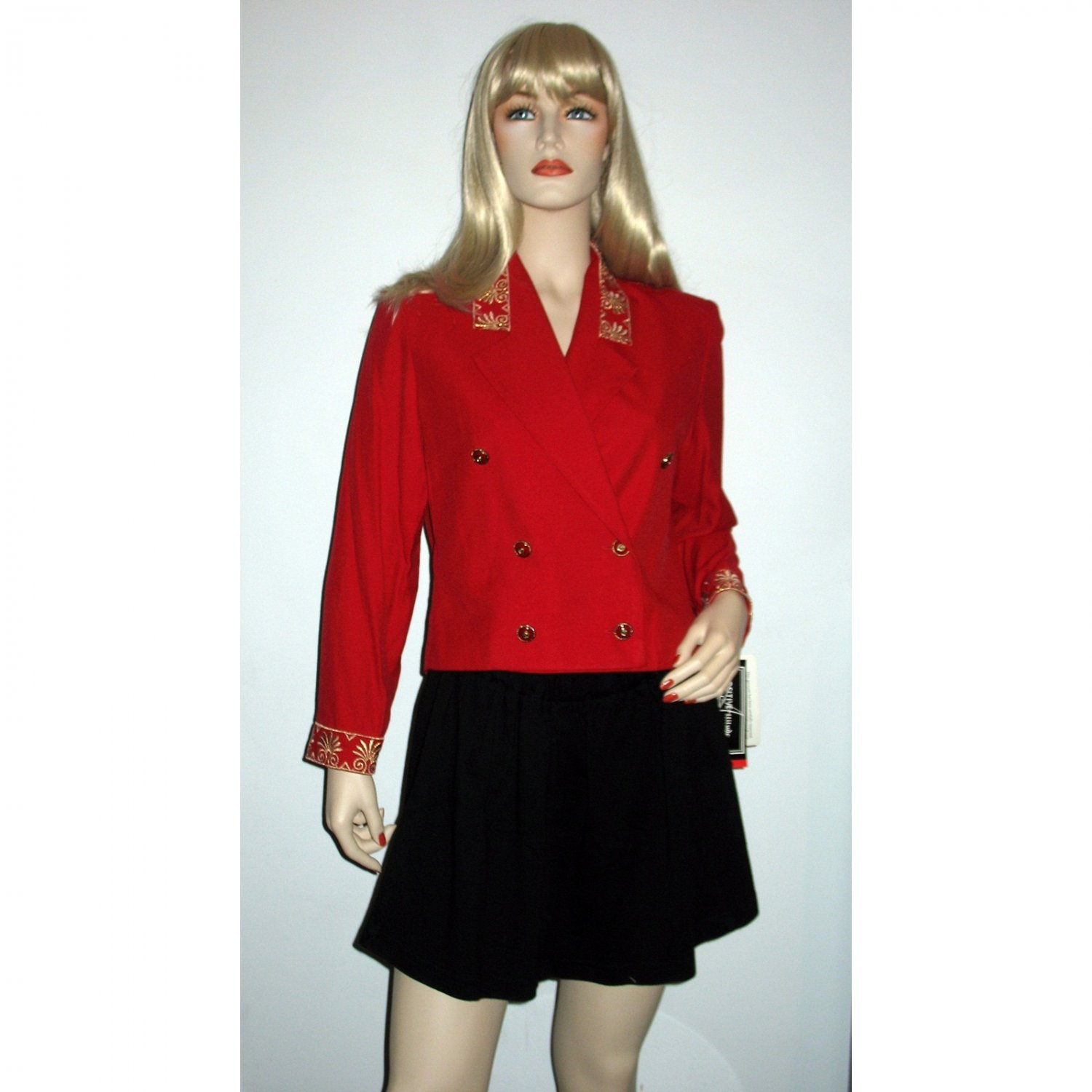 80s Red Military Jacket Cropped Top Blazer by Positive Attitude Size 8 M Medium