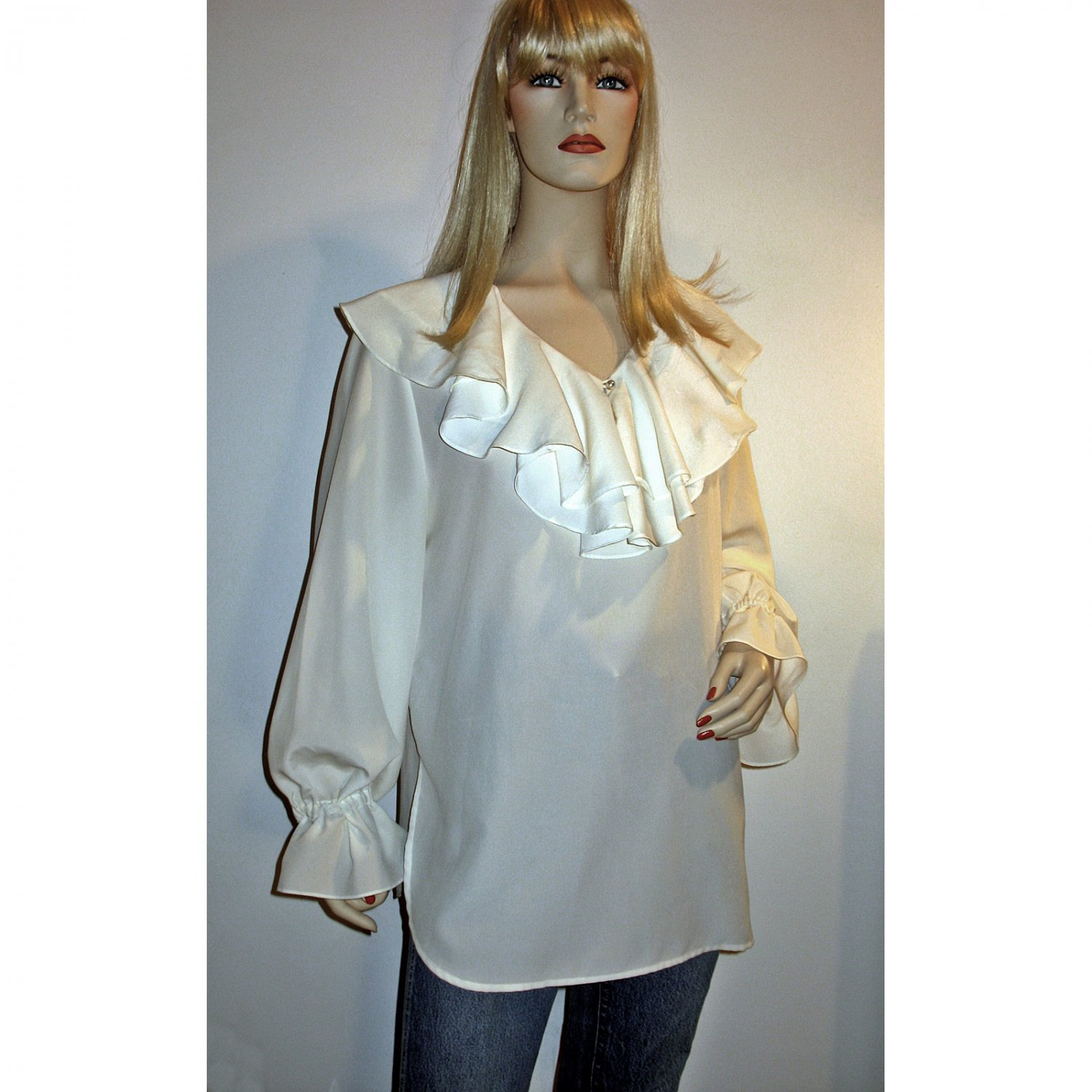 Vtg 80s Tunic Blouse/DeeprRuffled Collar/Long Billowy Sleeves & Ruffled cuffs - One Size