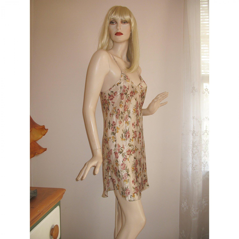 Vintage 70s Floral Satin Chemise Nightie Nightgown Mini Dress Size M/Medium