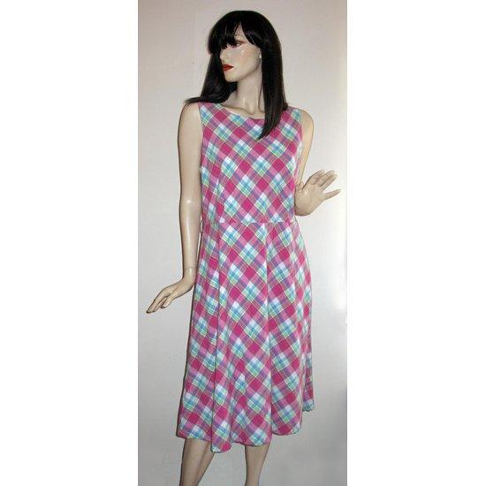 Izod Sleeveless Plaid Casual Dress, Resort Wear, Size Extra Large