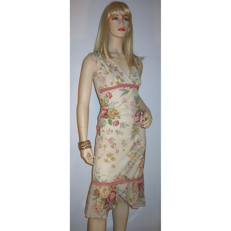 Vintage 70s Hippie Boho Gypsy Dress Ruffled Scarf Hem Sheer Body Con Floral - Size Small