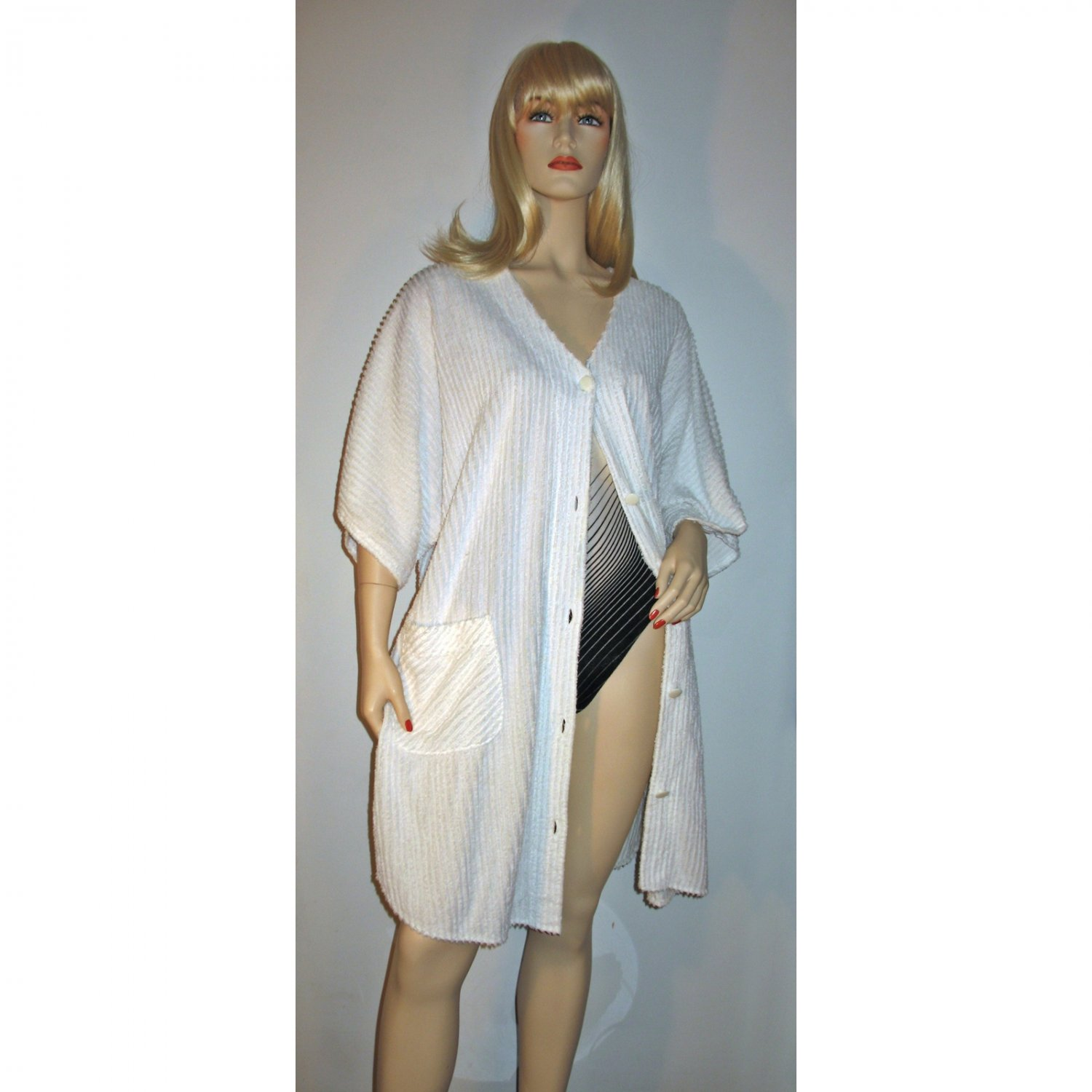 Vintage 80s White Chenille Beach Coverup Robe Size L Large