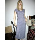 Vintage Grunge Revival Festival Midi Dress Sheer Rayon Blue Ditsy Florals - Fluttery Cap Sleeves
