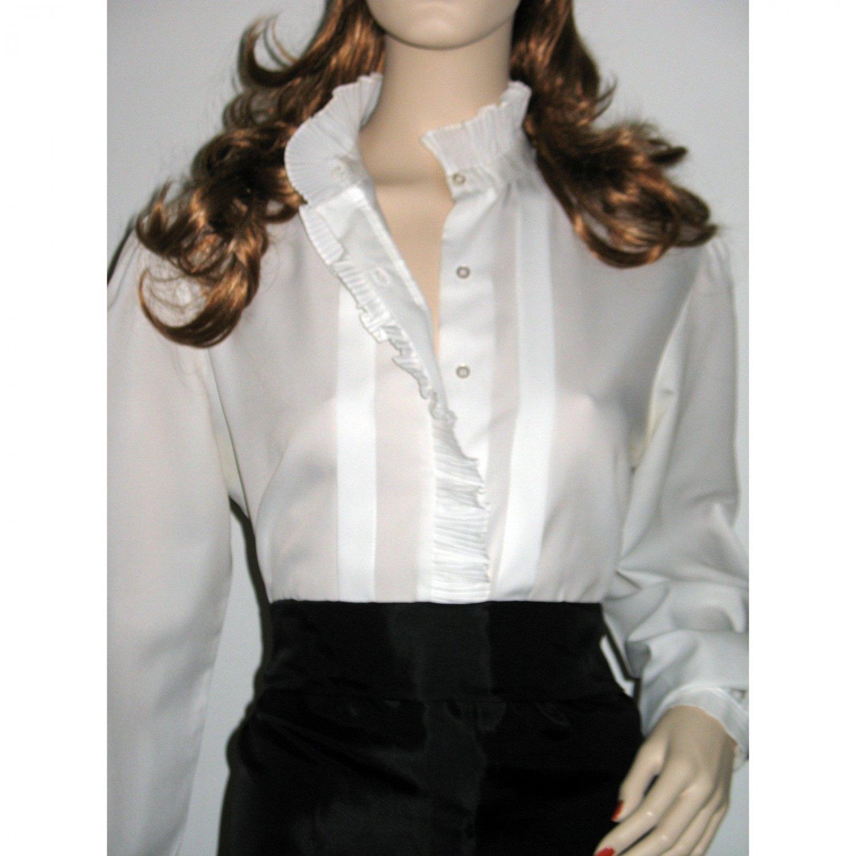 Women's White Long Sleeve Blouse Top / Vintage 1960s Ruffled Tuxedo Style L/Large
