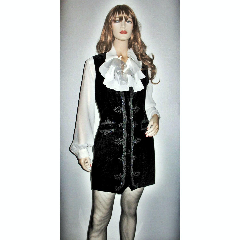 Gypsy Bohemian Black Velvet Mini Dress / Long Sleeveless Coat