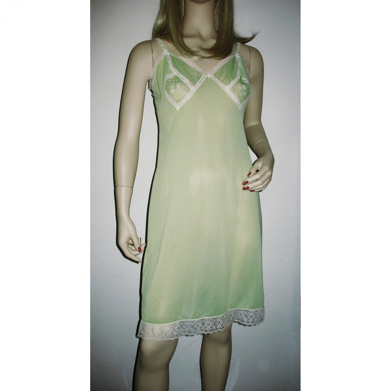 1960s Vintage Green Full Slip 'Hollywood' Vassarette by Munsingwear