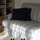 IKEA EKESKOG Sofa Bed Sofabed SLIPCOVER Cover SKOGA BEIGE Blue STRIPES