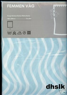IKEA FEMMEN Aqua Blue Shower Curtain MIDCENTURY Modern