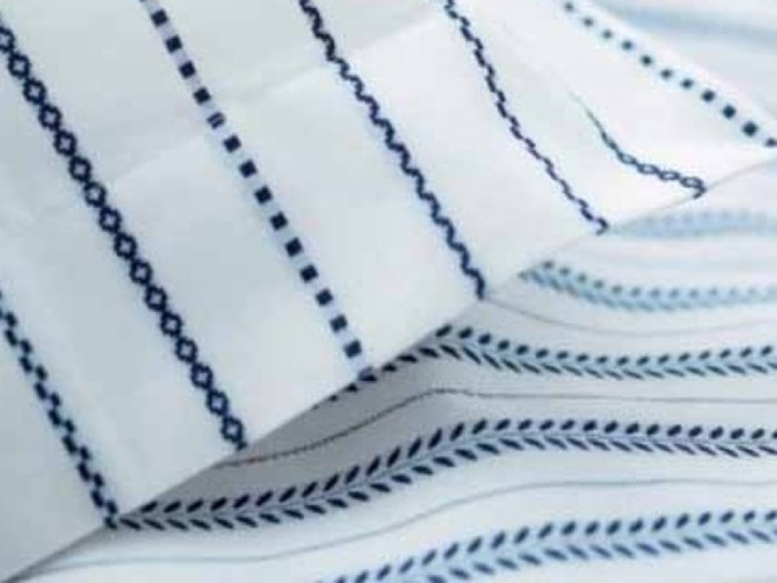 Ikea TYRA BLAD Blue White DUVET COVER Set QUEEN Tiny Leaves STRIPES Kazuyo Nomura