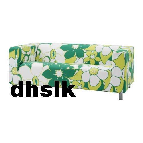 IKEA KLIPPAN Loveseat Sofa SLIPCOVER Cover VIMLE GREEN Mod FLORAL