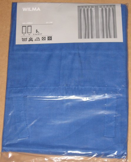 IKEA WILMA Tab Top CURTAINS DRAPES Semi Sheer ROYAL BLUE