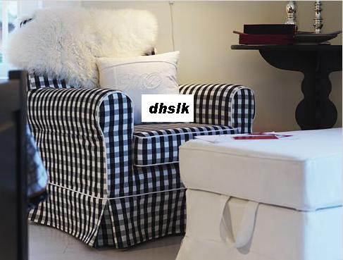 IKEA Ektorp JENNYLUND Armchair SLIPCOVER Cover STOARP BLACK White CHECKS