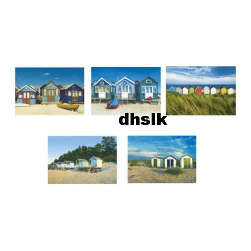 Ikea ART Cards PRINTS Postcards BEACH HOUSE CABANA Huts Set 5