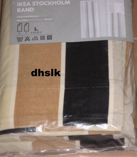 IKEA STOCKHOLM RAND Curtains Drapes STRIPE BROWN BEIGE Velvet