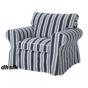 New IKEA EKTORP Armchair SLIPCOVER Cover TOFTAHOLM Blue White STRIPE