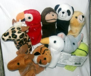 IKEA WILD ANIMAL Zoo 10 FINGER PUPPETS Toy Set XMAS Preschool