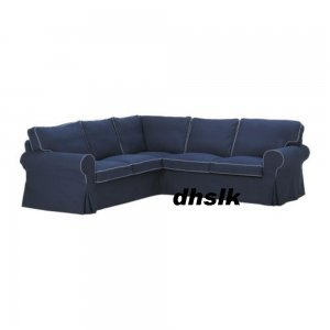 ikea ektorp 2 2 corner sofa cover slipcover idemo dark blue bezug. Black Bedroom Furniture Sets. Home Design Ideas