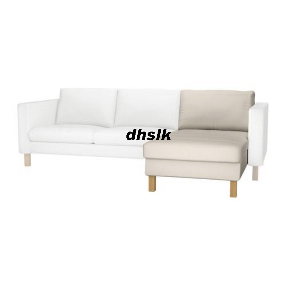 Ikea KARLSTAD Add-on Chaise SLIPCOVER Cover LINNERYD NATURAL Beige