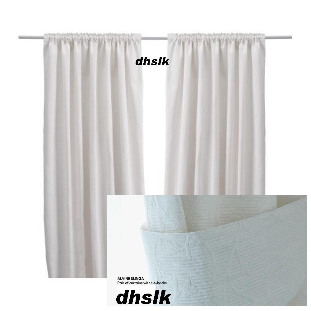 Ikea alvine slinga white curtains drapes floral for White curtains ikea