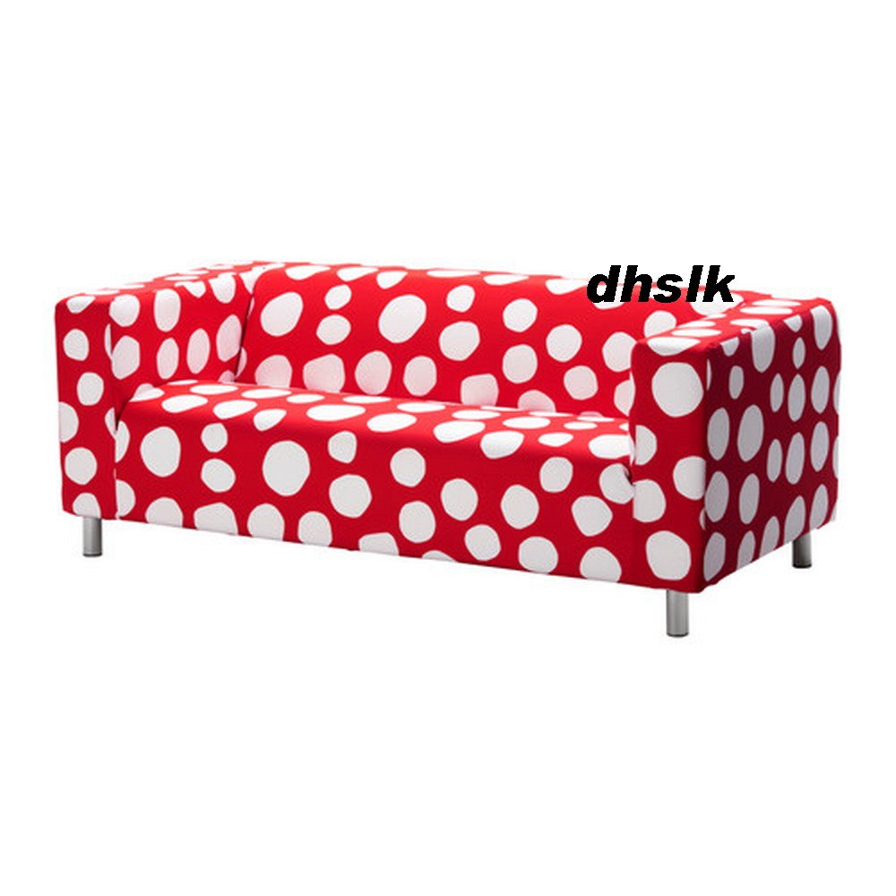 Ikea Klippan Loveseat Sofa Slipcover Cover Dottevik Red White Polka Dots
