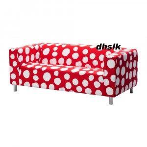 Ikea klippan loveseat sofa slipcover cover dottevik red white polka dots for Housse canape bz ikea