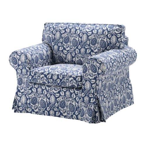 ikea ektorp armchair cover klintbo blue slipcover floral bezug. Black Bedroom Furniture Sets. Home Design Ideas
