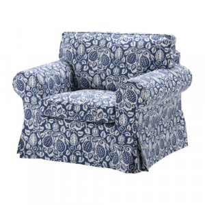 ikea ektorp armchair cover klintbo blue slipcover floral bezug. Black Bedroom Furniture Sets. Home Design Ideas