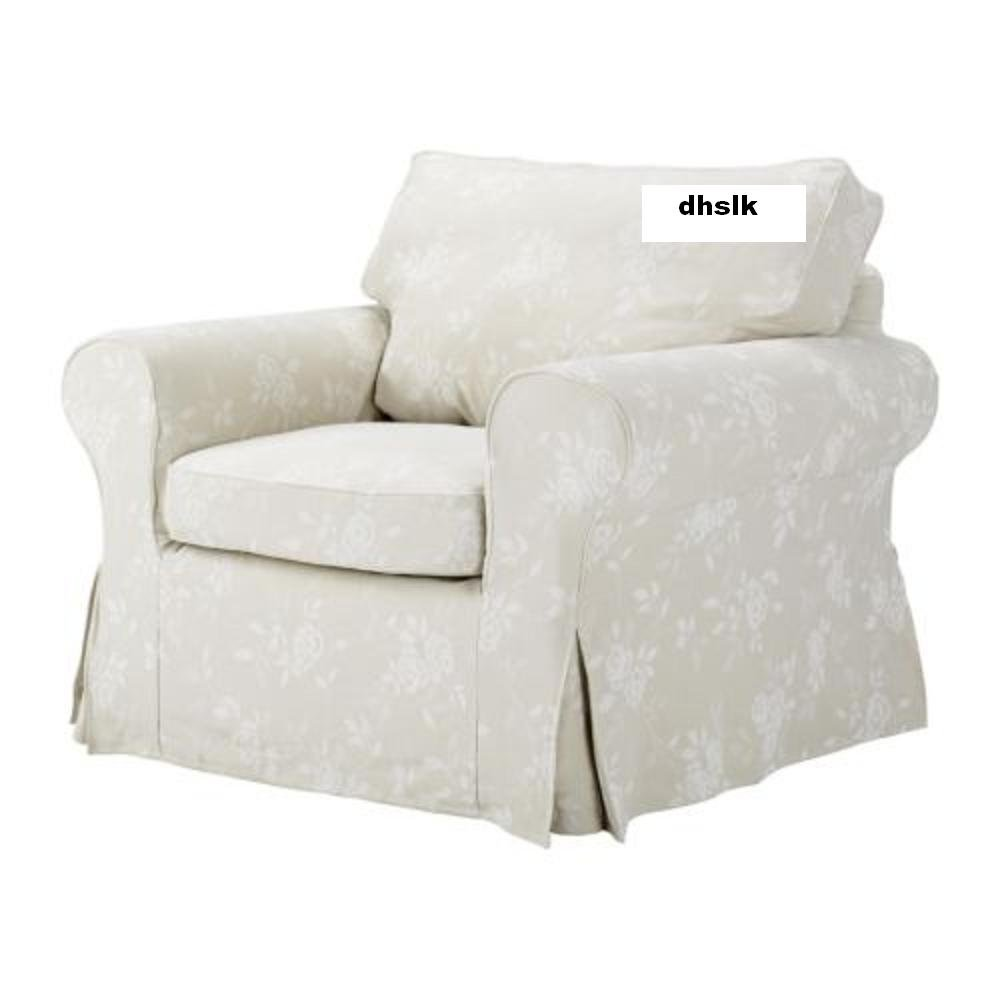 ikea ektorp armchair cover redeby beige slipcover floral bezug. Black Bedroom Furniture Sets. Home Design Ideas