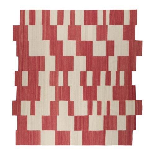 IKEA PS STUGA RED Natural HANDWOVEN Area RUG Modern FLATWOVEN Tribal