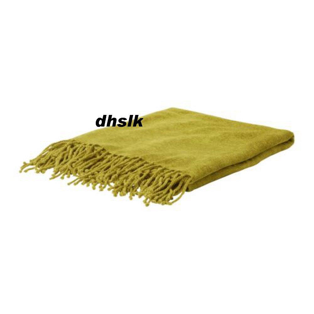 New IKEA FELICIA GREEN YELLOW Throw BLANKET Afghan SOFT