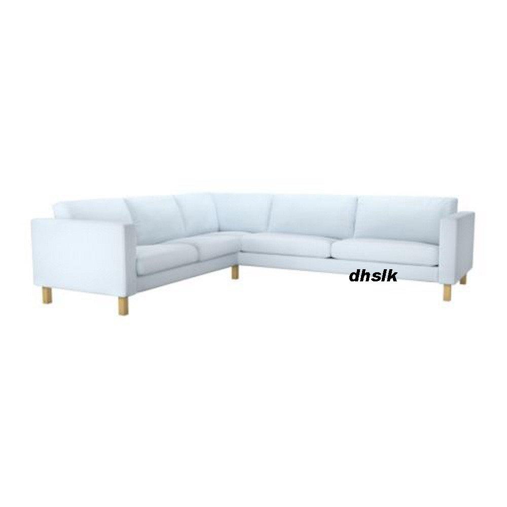 ikea karlstad corner sofa slipcover cover sivik light blue mid century