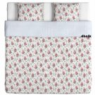 IKEA EMMIE SÖT Sot KING Duvet COVER Pillowcases Set PINK Floral Striped