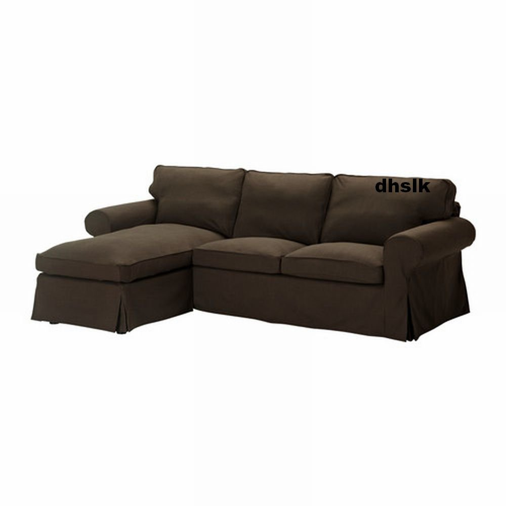 Ikea ektorp loveseat with chaise cover slipcover svanby for Brown chaise lounge sofa