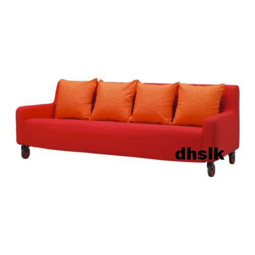 Ikea Lund Valla 3 Seat Sofa Slipcover Cover Red Orange Bezug Housse
