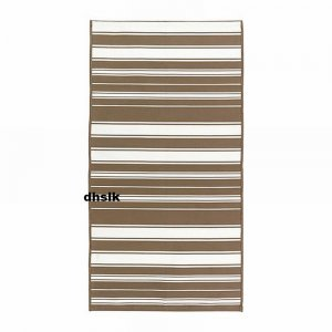 IKEA ALSLEV BEIGE White STRIPES Area Throw RUG MAT Reversible Flatwoven