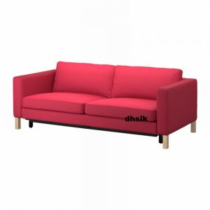 Ikea KARLSTAD Sofa Bed SLIPCOVER Sofabed Cover SIVIK PINK RED Pink Red Mid Century Modern