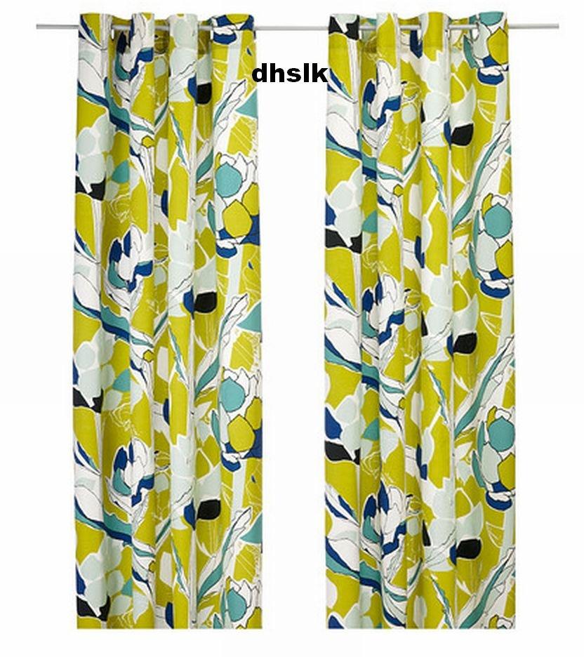 Ikea Janette Curtains Drapes Green Mod Leaf Bold